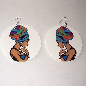 3 for $20💥 Ethnic Woman Wooden Earrings
